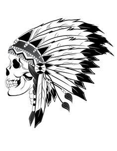 Indian Chief Skull Illustration