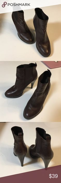 banana republic ankle booties leather brown only wore 2 times hard to wear heel  since i have a little baby to carry lol Banana Republic Shoes Ankle Boots & Booties