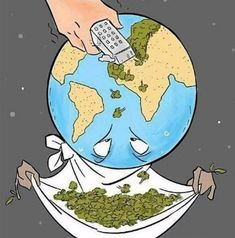 Deforestation (majority due to animal agriculture) is one of the leading contributors to climate change. We need trees to recycle the carbon dioxide we exhale back into life-giving oxygen! The rainforests are our planets lungs! Save Planet Earth, Save Our Earth, Love The Earth, Our Planet, Satire, Pictures With Deep Meaning, Earth Drawings, Save Environment, Satirical Illustrations