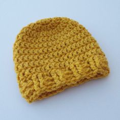 Newborn Crochet Hat Golden Yellow Beanie by ColorMyWorldCrochet