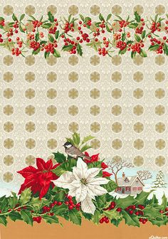 "Poinsettia Traditions Border Stripe - Ivory/Gold - 58"" WIDE"