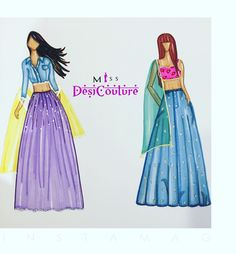 The denim sisters...featuring (left) cute buttoned denim crop top blouse with silver lace and lilac net skirt. On the other hand (right) features a pink floral bustier blouse paired with a denim flare skirt with paisley gemstone embroidery.   Feeling a little adventurous? Get your hands on a demin lehenga, email us at miss.desi.couture@gmail.com