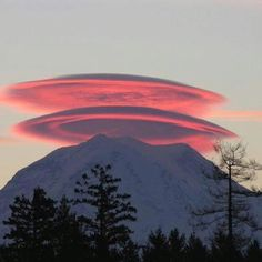 Lenticular clouds over mt. Rainier.