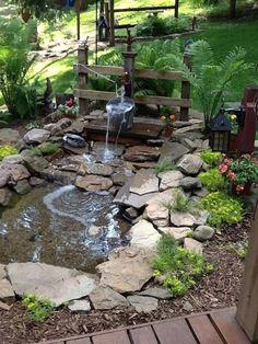 Backyard Water Feature, Ponds Backyard, Garden Ponds, Backyard Ideas, Garden Types, Diy Garden, Indoor Garden, Design Fonte, Garden Water Fountains