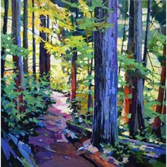 Cedar Trail by Randy Hayashi, Acrylic on Canvas, Painting Landscape Art, Landscape Paintings, Watercolor Paintings, Kiss Painting, Oil Painting Trees, Tree Paintings, Tree Art, Painting Inspiration, Amazing Art