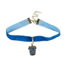 Harry Potter Ravenclaw Choker ❤ liked on Polyvore featuring jewelry, necklaces, gold tone necklace, velvet choker, long pendant necklace, blue choker necklace and blue choker