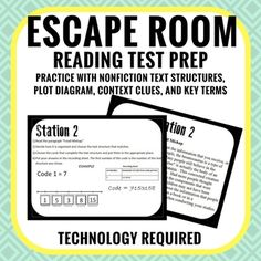 Escape room style reading test prep. Includes context clues station, non-fiction text structure, plot diagram practice, and practice with common reading vocabulary terms.This interactive escape room requires technology. This is a great form of test prep for any middle school ELA state test.