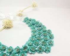 Turquoise Peter Pan Collar Collar Necklace Beads by medusa12, $25.00