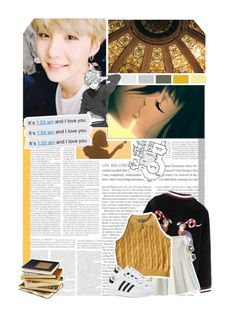 """""""yellow yellow yellow // 387 //"""" by cidinha-001 ❤ liked on Polyvore featuring Versace, adidas, ASOS and minyoongi"""