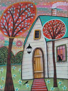 Early Morning 12x16 inch ORIGINAL CANVAS cat bird PAINTING Folk Art Karla Gerard #FolkArtAbstractPrimitive