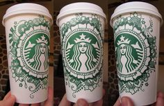 Love how the green doodles make this monochromatic but the details add depth! designsArt by shana Starbucks Coffee Cups, Starbucks Cup Design, Starbucks Art, Coffee Cup Art, Starbucks Drinks, Coffee Cozy, Sharpie Art, Sharpies, Copo Starbucks
