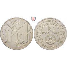 DDR, 10 Mark 1990, 1. Mai, st, J. 1637: Kupfer-Nickel-10 Mark 1990. 1. Mai. J. 1637; stempelfrisch 5,00€ #coins