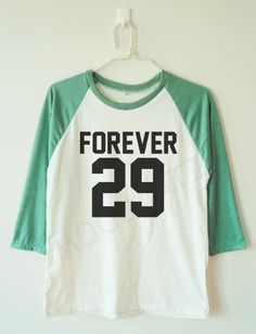 30th Birthday Gift Ideas for Him / Her:  Forever 29 Womens or Mens Baseball T-Shirt by Mood Catz @ Etsy