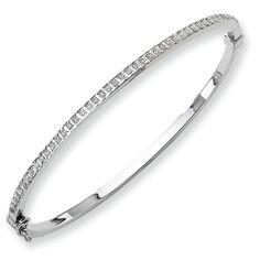 14k White Gold Diamond Fascination Hinged Bangle, Best Quality Free Gift Box Satisfaction Guaranteed