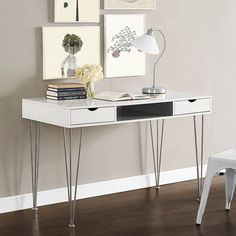 This sleek office desk offers clean, modern lines, a sleek white & gray finish, and ample storage. It is well made by Walker Edison, a high quality manufacturer, yet it is extremely affordable. Its fo