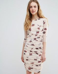Buy it now. Ganni Silverstone Mesh Ruched Carnation Print Bodycon Dress - Cream. Dress by Ganni, Semi-sheer printed mesh, Partially lined, Round neck, Ruched design, Mid-length sleeves, Close-cut bodycon fit, Machine wash, 100% Polyamide, Our model wears a UK S/EU S/US XS and is 176cm/5'9.5 tall. ABOUT GANNI Danish label Ganni work with an aim to create wardrobe classics for the independent woman. Working as a creative hub, no one designer is behind the label, with the concept being driven…