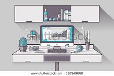 Flat design vector illustration concept of modern creative office workspace with computer. The office of a creative worker. Flat minimalistic style and color with long shadows. Stroke, thin line. - stock vector