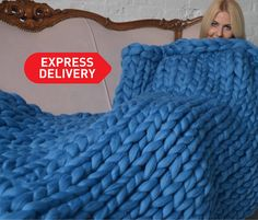 Excited to share the latest addition to my shop: Chunky knit blanket, giant knit blanket, meri Large Knit Blanket, Chunky Knit Throw, Chunky Blanket, Chunky Wool, Vogue Knitting, Arm Knitting, Knitted Blankets, Merino Wool Blanket, Knit Patterns