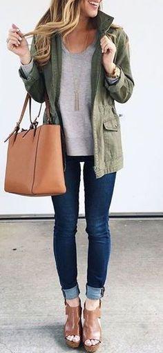 cfea9ef2861  fall  fashion   military green jacket + gray  FallFashionTrendsforWomen  Women Fall Outfits