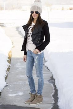 pale pink softens up an edgy black leather jacket. love everything but the sneaker wedges. replace with oxford booties ;)