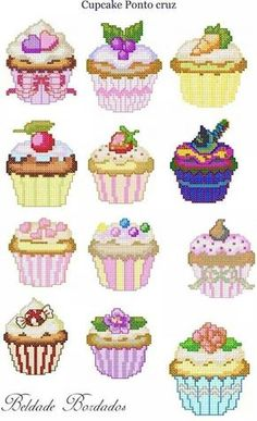 This Pin was discovered by Süm Cupcake Cross Stitch, Kawaii Cross Stitch, Cross Stitch Baby, Cross Stitch Cards, Cross Stitching, Cross Stitch Embroidery, Cross Stitch Designs, Cross Stitch Patterns, Cross Stitch Kitchen