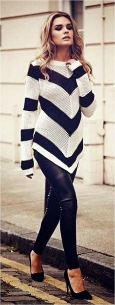 Whether horizontal, vertical, chevron, thin, thick, black and white or multi-colored - I LOVE stripes. #fashion #timelesstrend #fall #sweaters #leggings