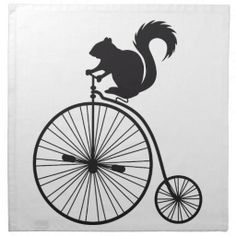 squirrel on vintage bicycle Napkins