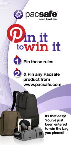 Ready to score some sweet Pacsafe gear? Then enter our pin it to win it contest! Pin the rules and pin any Pacsafe product from our website and you're entered!