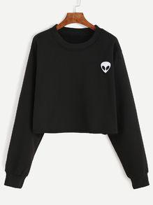 Black Alien Embroidered Crop Sweatshirt