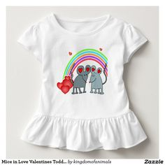 #Mice in #Love #Valentines #Toddler Ruffle #TShirt #Childrens #clothing on #Zazzle