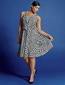 Op Art sleeveless V dress by Isabel Toledo Trendy Plus Size Dresses, Plus Size Womens Clothing, Stylish Dresses, Plus Size Outfits, Plus Size Fashion, Dresses For Work, Clothes For Women, Plus Size Evening Gown, Evening Gowns