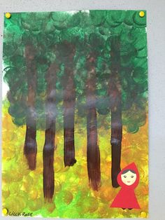 Le petit chaperon rouge Nursery Rhyme Crafts, Nursery Activities, Kindergarten Art Lessons, Kindergarten Art Projects, Fairy Tale Projects, Red Riding Hood Story, Wolf Craft, Traditional Tales, Fairytale Art