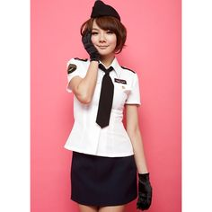 Air Hostess Stewardess Costume, Black and White Stewardess Costume, Flight Attendant Costume, #H05668