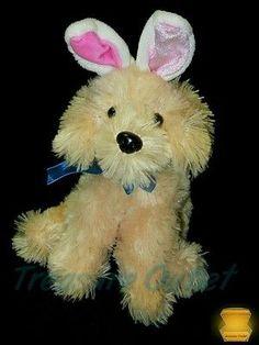 Dan Dee Stuffed Plush Easter Golden Retriever Puppy Dog With Bunny Ears 8in