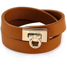Salvatore Ferragamo Gancini Double Wrap Leather Bracelet (9,520 DOP) ❤ liked on Polyvore featuring jewelry, bracelets, leather bangles, salvatore ferragamo jewelry, leather jewelry and salvatore ferragamo