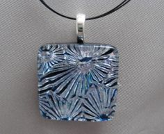 Gorgeous Silver and Turquoise Dichroic Glass Pendant in the webstore at dichroicadventures.com.  Only $24.49!