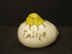 Antique Victorian Milk Glass Easter Egg with Yellow Baby Chick Hatching From Egg