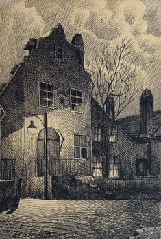 Johann Fucink, Vintage Pen and Ink Drawing - Evening Commence, 1912