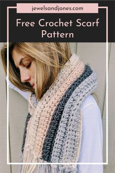 Learn how to crochet a beginner chunky scarf with this step-by-step crochet scarf tutorial. All you need is a bulky weight yarn and a crochet hook, no experience is needed to make this easy crochet scarf. #freecrochetpattern #crochet #scarf #diyscarf #crochetscarf