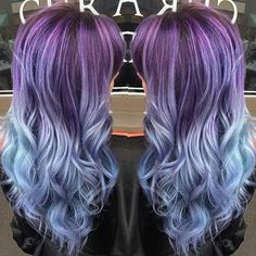 Dusty, Blue and Purple Ombre Hair