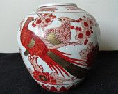 Vintage Chinese Red Iron Porcelain Vase Birds Cherry Blossom Flowers