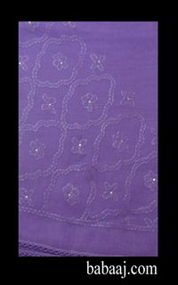large square scarf with chikan embroidery