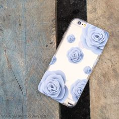 """Clear Plastic Case Cover for iPhone 6 (4.7"""") Paper Rose"""