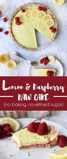Summer Lemon-Raspberry Raw Cake with a coconut crust