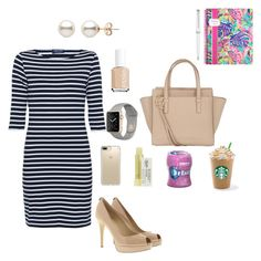 """Work meeting"" by tcolasante on Polyvore featuring Saint James, MICHAEL Michael Kors, Salvatore Ferragamo, Speck, Lilly Pulitzer, Montblanc, Kiehl's and Essie"