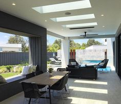 Poolside patio complete with skylights. Perfect for the next BBQ.  #patio #pool #poolside #skylight #skylights #bbq #velux #veluxaustralia #reno #renovation #awesome