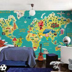 Explorer Kids World Map Mural RI Place For Kids Pinterest - World map mural for kids