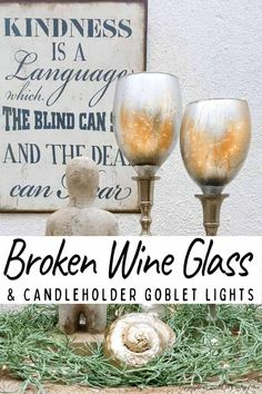 Don't throw those broken wine glasses away until you've seen how you can repurpose them to make these gorgeous chalice or goblet lights. The step-by-step tutorial includes a video that will show you how to cut the wine glass and how to get that mercury glass effect in two easy steps. #Wineglassrepurpose #BrokenGlass #ACraftyMix #DIYGoblet #Chalice #MercuryGlass Diy Home Crafts, Diy Craft Projects, Decor Crafts, Glass Cutter, Crafty Craft, Crafting, Gold Spray Paint, Homemade Candles, Paint Drying