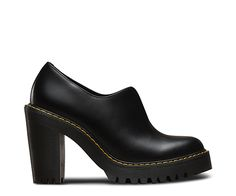 This is the Cordelia, a woman's high-heeled slip-on shoe. It's got the same durable ass-kicking aggressive style as the original Dr. Martens boots; we just added some xx chromosomes to the DNA. First things first: extra height and street cred come in the form of an edgy, tough heel. And that's balanced out by a sleek, easy-on-and-off design. Its pure grunge as-is, but customization is totally up to you. There's an open throat, meaning a subtly elasticized top. This makes the Cordelia a…