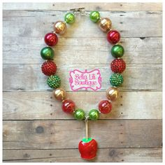 Christmas Candy Apple Chunky Bead Necklace by BellaLiliBowtique